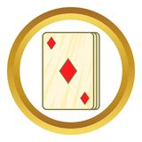 Playing card diamonds icon. In golden circle, cartoon style isolated on white background vector illustration