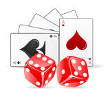 Playing card with dice Stock Photo