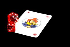 Playing card with dice Stock Photography