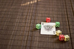 Playing Card with Dices. Playing Card on the Table with Dices Stock Images