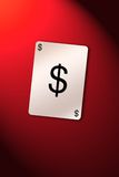 Playing card dollar. Playing cards on dollar sign. Busines dollar composition royalty free illustration
