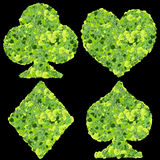 Playing card eco icon, spades, club, diamond, heart, made from green leaves. Stock Image