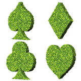 Playing card eco icon, spades, club, diamond, heart, made from green leaves. Stock Images