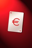 Playing card euro. Playing cards on euro sign. Busines euro composition vector illustration