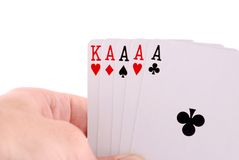 PLAYING CARD ON HAND Stock Images