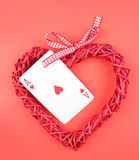 playing card and heart. stock photography
