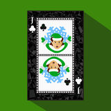 Playing card. the icon picture is easy. CLUB JACK JOKER NEW YEAR ELF. CHRISTMAS SUBJECT. about dark region boundary. a  illu Royalty Free Stock Image