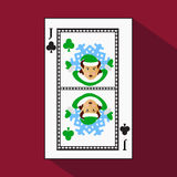 Playing card. the icon picture is easy. CLUB . the . JACK JOKER NEW YEAR ELF. CHRISTMAS SUBJECT. with white a basis substrate. vec Stock Image