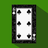 Playing card. the icon picture is easy. CLUB SIX 6 about dark region boundary. a  illustration on green background. applicat Stock Image