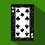 Playing card. the icon picture is easy. CLUB TEN 10 about dark region boundary. a  illustration on green background. applica Stock Photo