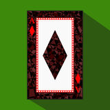 Playing card. the icon picture is easy. DIAMONT ace about dark region boundary. a  illustration on green background. applica Royalty Free Stock Image