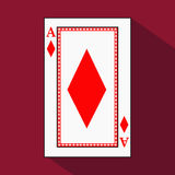 Playing card. the icon picture is easy. DIAMONT ace with white a basis substrate.  illustration on red background. applicati. Playing card. the icon picture is Stock Photo