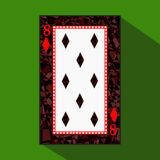 Playing card. the icon picture is easy. DIAMONT EIGHT 8 about dark region boundary. a illustration on green background. app. Playing card. the icon picture is royalty free illustration