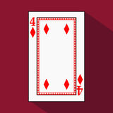 Playing card. the icon picture is easy. DIAMONT FOUR 4 with white a basis substrate. illustration on red background. applic. Playing card. the icon picture is vector illustration