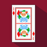 Playing card. the icon picture is easy. DIAMONT JACK JOKER NEW YEAR ELF. CHRISTMAS SUBJECT. with white a basis substrate.  i. Playing card. the icon picture is Stock Photos