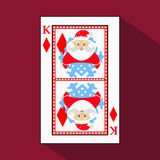 Playing card. the icon picture is easy. DIAMONT KING. NEW YEAR SANTA CLAUS. CHRISTMAS SUBJECT. with white a basis substrate. vecto. Playing card. the icon Stock Photos