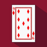 Playing card. the icon picture is easy. DIAMONT NINE 9 with white a basis substrate.  illustration on red background. applic Stock Photo