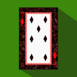 Playing card. the icon picture is easy. DIAMONT SEVEN 7 about dark region boundary. a  illustration on green background. app Royalty Free Stock Images
