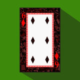 Playing card. the icon picture is easy. DIAMONT SIX 6 about dark region boundary. a illustration on green background. appli. Playing card. the icon picture is vector illustration