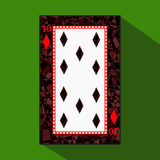 Playing card. the icon picture is easy. DIAMONT TEN 10 about dark region boundary. a illustration on green background. appl. Playing card. the icon picture is stock illustration