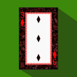 Playing card. the icon picture is easy. DIAMONT THIRD 3about dark region boundary. a  illustration on green background. appl Stock Image