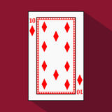 Playing card. the icon picture is easy. DIAMONT 10 with white a basis substrate.  illustration on red background. applicatio. Playing card. the icon picture is Royalty Free Stock Photo