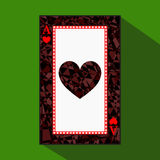 Playing card. the icon picture is easy. HEART ace about dark region boundary. a  illustration on green background. applicati Royalty Free Stock Photos