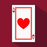 Playing card. the icon picture is easy. HEART ace with white a basis substrate.  illustration on red background. application Royalty Free Stock Image