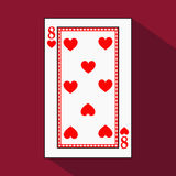 Playing card. the icon picture is easy. HEART EIGHT 8 with white a basis substrate. illustration on red background. applica royalty free illustration