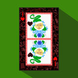 Playing card. the icon picture is easy. HEART JACK JOKER NEW YEAR ELF. CHRISTMAS SUBJECT. about dark region boundary. a ill. Ustration on a green background royalty free illustration