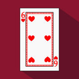 Playing card. the icon picture is easy. HEART SIX 6 with white a basis substrate.  illustration on red background. applicati Royalty Free Stock Photos
