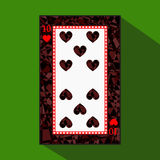 Playing card. the icon picture is easy. HEART TEN 10 about dark region boundary. a  illustration on green background. applic Stock Images