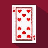 Playing card. the icon picture is easy. HEART TEN 10 with white a basis substrate.  illustration on red background. applicat. Playing card. the icon picture is Royalty Free Stock Images
