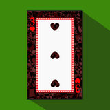 Playing card. the icon picture is easy. HEART THIRD3 about dark region boundary. a  illustration on green background. applic Stock Image