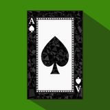 Playing card. the icon picture is easy. peak spide ace about dark region boundary. a  illustration on green background. appl. Playing card. the icon picture is Stock Image