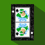 Playing card. the icon picture is easy. peak spide JACK JOKER NEW YEAR ELF. CHRISTMAS SUBJECT. about dark region boundary. a. Illustration on a green background stock illustration