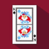 Playing card. the icon picture is easy. peak spide KING. NEW YEAR SANTA CLAUS. CHRISTMAS SUBJECT. with white a basis substrate. ve. Playing card. the icon Stock Images