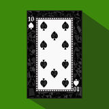 Playing card. the icon picture is easy. peak spide TEN 10 about dark region boundary. a  illustration on green background. a Royalty Free Stock Photography