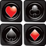 Playing card icons on black checkered web icons Stock Images