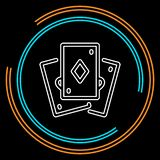 Playing card vector icon. Playing card illustration - casino symbol - playing cards sign, gamble icon. Thin line pictogram - outline stroke vector illustration