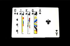 Playing Card Isolated. Five Playing Cards of Black Symbol for Poker on Black Background. Great for Any Use Stock Photos