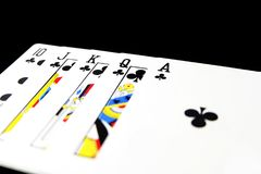 Playing Card Isolated. Five Playing Cards of Black Symbol for Poker on Black Background. Great for Any Use Royalty Free Stock Photos