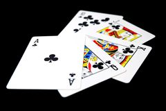 Playing Card Isolated. Five Playing Cards of Black Symbol for Poker on Black Background Stock Photo