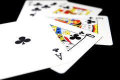 Playing Card Isolated. Five Playing Cards of Black Symbol for Poker on Black Background Royalty Free Stock Image