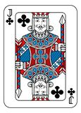 Playing Card Jack of Clubs Red Blue and Black. A playing card Jack of Clubs in red, blue and black from a new modern original complete full deck design. Standard vector illustration