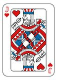 Playing Card Jack of Hearts Red Blue and Black. A playing card Jack of hearts in red, blue and black from a new modern original complete full deck design vector illustration