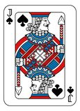 Playing Card Jack of Spades Red Blue and Black. A playing card Jack of Spades in red, blue and black from a new modern original complete full deck design royalty free illustration