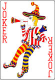 Playing card joker red 62x90 mm vector illustration