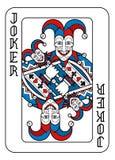 Playing Card Joker Red Blue and Black. A playing card Joker in red, blue and black from a new modern original complete full deck design. Standard poker size vector illustration