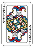 Playing Card Joker Yellow Red Blue Black. A playing card Joker in yellow, red, blue and black from a new modern original complete full deck design. Standard stock illustration